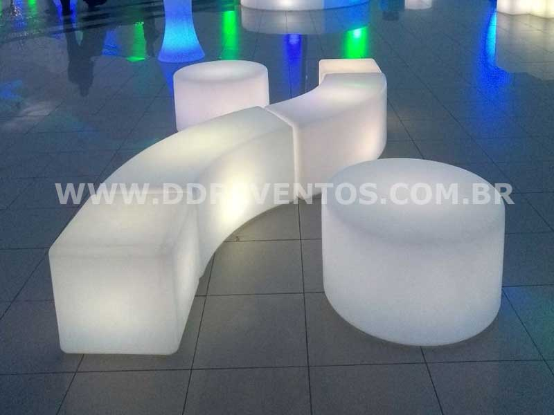 Mesa Baixa de led - 70cm - LOCAÇÃO 3 mesa baixa redonda de led