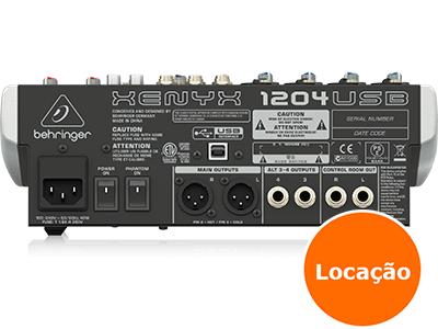 Mesa de som Behringer 12 Canais - XENYX 1204 USB - LOCAÇÃO 2 8215160489 mesa de som 1204usb traseira