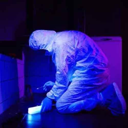 Investigação com lâmpada UV - Luz Negra